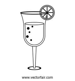 Summer cocktail glass cup with lemon in black and white
