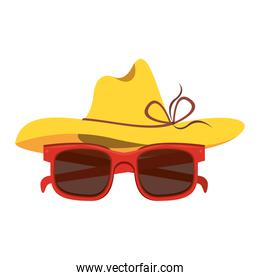Summer hat and sunglasses cartoon isolated