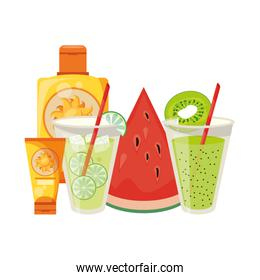 Lemonade and kiwi juice with sun bronzer bottles and watermelon