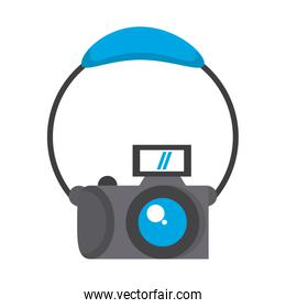 Photographic camera and headphones cartoon