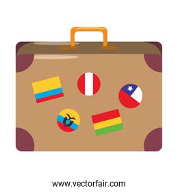 Travel suitcase with stamps cartoon isolated