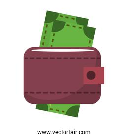 Wallet with cash money cartoon isolated symbol