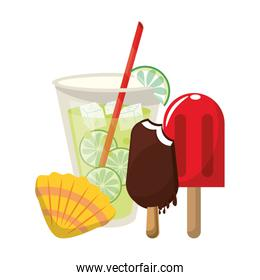 Lemonade with popsicle ice cream and shell