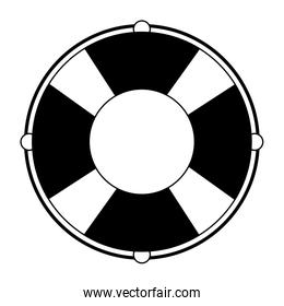 Float lifesaver cartoon isolated symbol in black and white