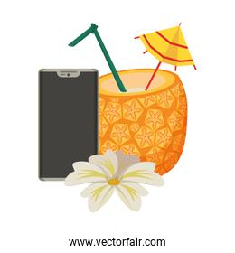 pineapple cocktail beverage icon cartoon