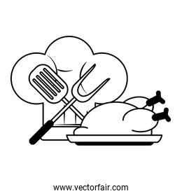 restaurant food and cuisine cartoons in black and white
