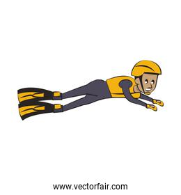 Swimmer with diving fins cartoon