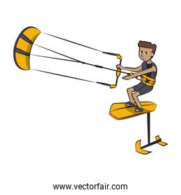 Water extreme sport cartoon isolated