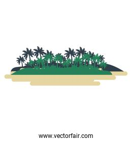 Island with palms and bushes cartoon