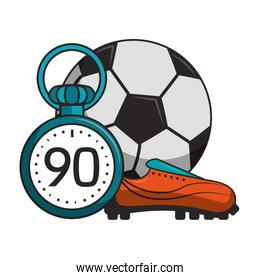 Soccer ball with boot and timer sport cartoons