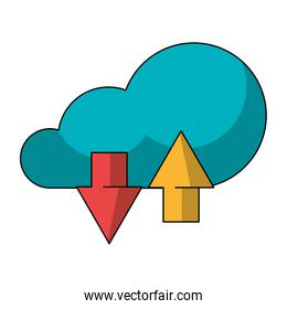 Cloud computing technology symbol isolated