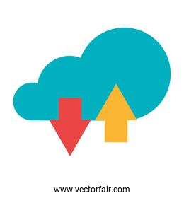 Cloud computing technology symbol isolated design