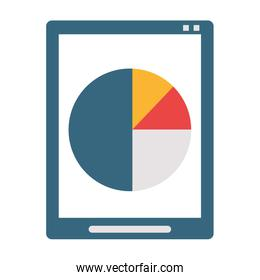 Tablet with statistics pie graph