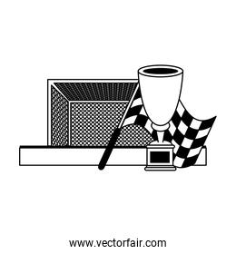Soccer sport tournamente game cartoons in black and white