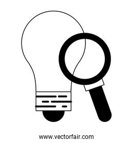 Bulb light and magnifying glass symbols in black and white