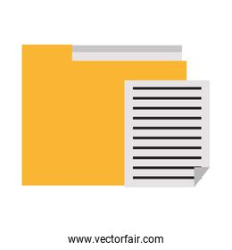 Folder and document paper symbol isolated