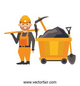 Mining worker character with picks and shovel in train carrier