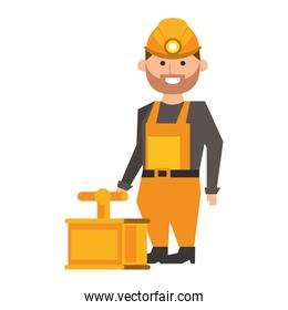 Mining worker with pick and tnt detonator