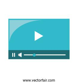 Video player with digital buttons symbol isolated