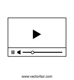 Video player with digital buttons symbol isolated in black and white