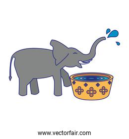 Elephant drinking water from pot cartoon blue lines