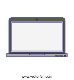 Laptop computer technology symbol isolated blue lines