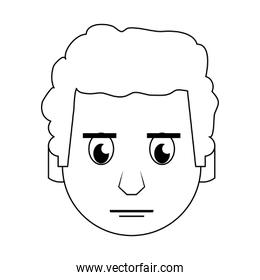 Man face head character cartoon in black and white