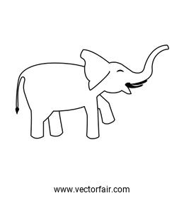 Elephant wildlife animal cartoon sideview isolated in black and white