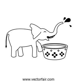 Elephant drinking water from pot cartoon in black and white