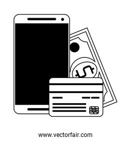 Online shopping and electronic payment in black and white