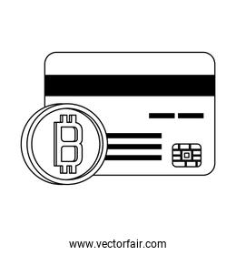 Bitcoin cryptocurrency digital money symbols in black and white