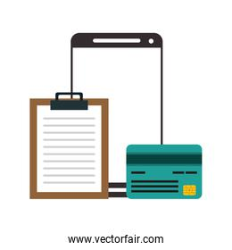 Smartphone and credit card with document clipboard symbol