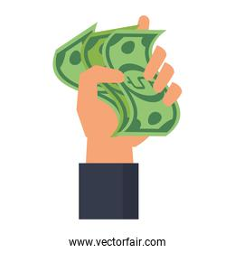Hand holding money cartoon isolated