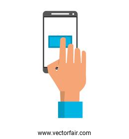 Hand touching button on smartphone screen