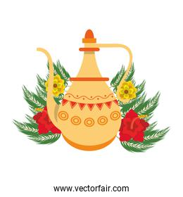 indian traditional teapot icon cartoon