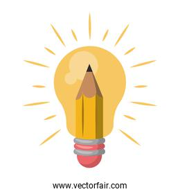 Bulb light with pencil symbol isolated cartoon