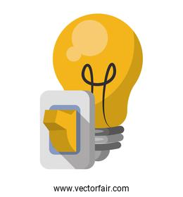 Bulb light with switch cartoon isolated
