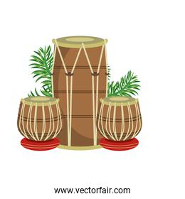 Indian table drums with leaves
