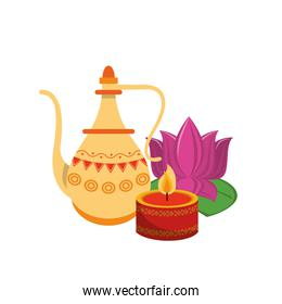 Indian lotus flowers and decorative porcelain jars with leaves