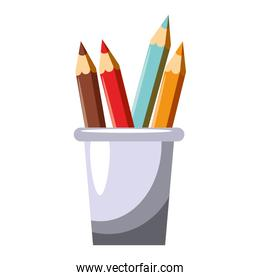 Colors pencils in cup cartoon isolated
