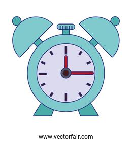 Alarm clock with bells isolated symbol blue lines