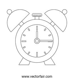 Alarm clock with bells isolated symbol in black and white