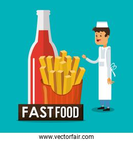 Fries soda and fast food design