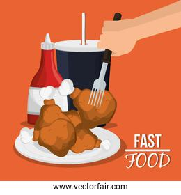 Chicken soda and fast food design