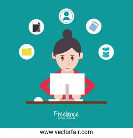 Woman and freelance design