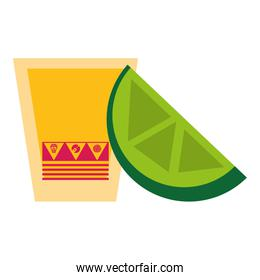 Tequila shot with lemon mexican drink