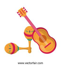Mexican guitar and maracas latin instruments