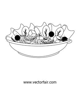 Vegetables fresh salad in bowl in black and white
