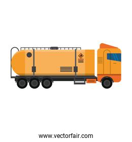 Truck with fuel tank vehicle isolated sideview symbol