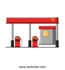 Fuel gasoline station building isolated